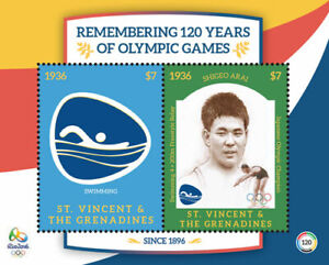 St. Vincent 2016 - Rio Olympic Games, Shigeo Arai - Sheet of 2 Stamps - MNH