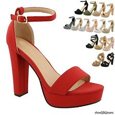 New Women's Fashion Platform Chunky Block High Heel Sandals Party Dress Shoes