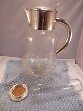 VTG GERMAN SILVER PLATED DECORATIVE CUT CRYSTAL GLASS  PITCHER w.ICE HOLDER