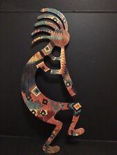 """Kokopelli Native Tribal Muscian Music Fertility Dancer Metal Art 20"""" Sculpture"""