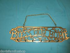 Bless Our Home Brass Key Ring Chain Holder Hanger Sign