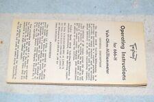 TRIPLETT 666-H POCKET V-O-M FACTORY INSTRUCTION MANUAL BOOKLET (smaller version)