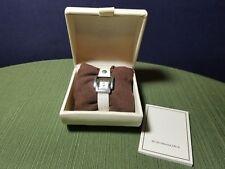 BCBG Max Azria Arabesque Silver Tone Model BG6229 White Leather Ladies Watch