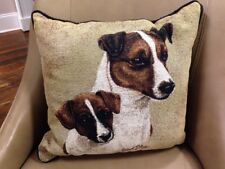 Jack Russell Terrier with Puppy Dog Jacquard Woven Cotton Tapestry Pillow New
