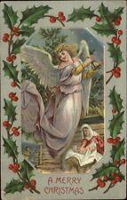Christmas - Angel Ringing Bell Over Mary & Jesus - Nativity c1910 Postcard