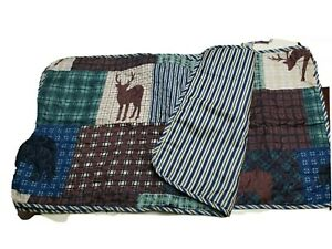 """LIL' DOLLYS 2pc  Patchwork Quilted Pillow Shams Set 20""""x36"""" DEER BEAR NATURE"""