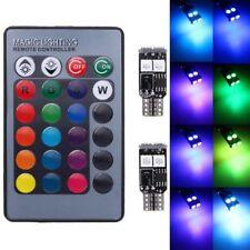 2x T10 W5W 6 SMD 5050 RGB LED Car Wedge Side Light Reading Bulbs Remote Control