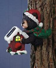 Solar Lighted Christmas Black Bear in Santa Hat Garden Bird House