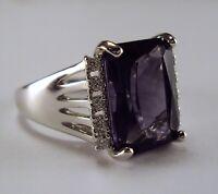 Excellent Designer Unisex Sterling Silver Amethyst Crystal Cocktail Ring Size 10