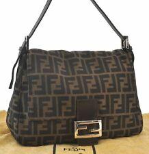 Authentic FENDI Zucca Mamma Baguette Hand Bag Canvas Leather Brown C3868