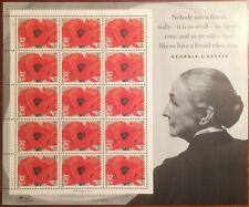 Scott 3069, 32c Georgia O'Keeffe Red Poppy MNH Commemorative Sheet of 15 bonus
