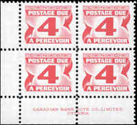 Mint NH Canada 1973-74 F-VF HB Block of 4 Scott #J31iii 4c Postage Due Stamps