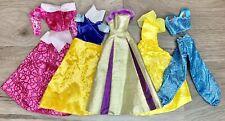 Disney Princess Barbie Doll Clothes Lot 5 Dresses Shoes Rapunzel Belle