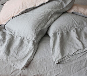 Pure French Linen Farm House Style Long Ruffle PillowSlips x 2 Yummy Linen Brand