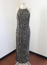Vtg Laurence Kazar Black Floral Silk Beaded Sequin Evening Dress Formal Size M