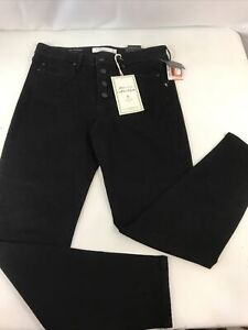 new liverpool jeans 8/29 black button fly tapered denim eco friendly