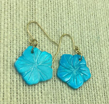 Vintage Style Earrings Mother of pearl Coated Turquoise Carved Flower Silvertone