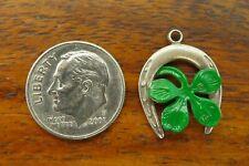 Good Luck Irish Ireland Enamel charm Vintage silver Four Leaf Clover Horseshoe