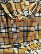 Designer Inspired 100% Cashmere Soft Warm Camel Tan Beige Plaid Scarf  6 ft Long