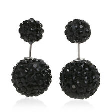 SEXY SPARKLES Clay Earrings Double Sided Ear Studs Round Black Rhinestone W/ Sto