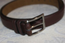 Men's Warehouse Brown Leather Belt, Satin Buckle, Size 38