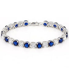 34.83 CT TW CREATED BLUE SAPPHIRE & CZ 925 STERLING SILVER TENNIS BRACELET 7IN