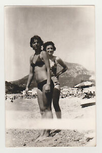 Two Pretty Attractive Hot Leggy Young Women Beach Bikini Swimsuit Lady Females