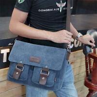 "Men's Messenger Bag Canvas Satchel Cross Body 14"" Laptop Vintage Shoulder Strap"