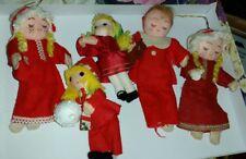 5 Christmas Ornaments Little Girl Dolls