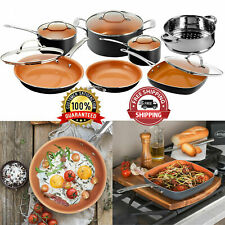 Pots & Pans Set Nonstick Cookware Strainer w/ Lids 12 Piece Gotham Steel