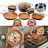 Gotham Steel Copper Nonstick New! 12 Piece Ceramic Cookware Set Pots Pans