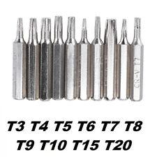 10 Stück Torx Bit Set mit Loch T3 T4 T5 T6 T7 T8 T9 T10 T15 T20 28mm LANG