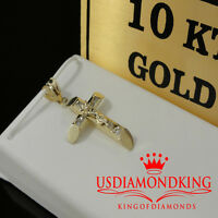 Mens Ladies 10K Yellow Gold Crucifix Jesus Cross Pendant Charm 1.5 Inch 2.4 Grms