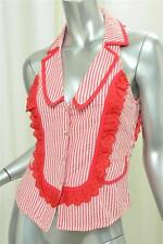 SASS & BIDE Womens Red+White Cotton Striped Seersucker Sleeveless Top Blouse 2