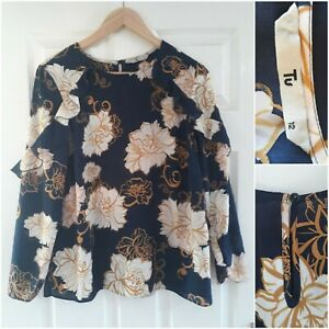 TU Navy Blue Mustard Yellow Blouse Size 12 Floral Ruffle Long Sleeves Work Party