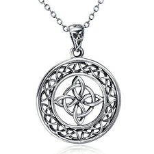 925 Sterling Silver Celtic Knot good luck round Medallion Pendant charm Necklace