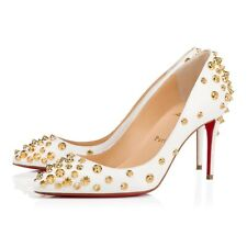 Christian Louboutin Aimantaclou 85 White Snow Gold Spike Pigalle Heel Pump 38.5