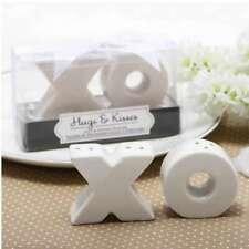 1 set Hugs and Kisses Salt & Pepper Shakers White Wedding Bomboniere Favour