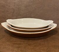 2 Vintage Brown Wallace Oval Casserole/Baking Dishes & 1 Hall 528 Dish
