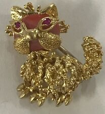 Cute Cat Coral Ruby Pin/Brooch 18k Solid Yellow Gold Italy