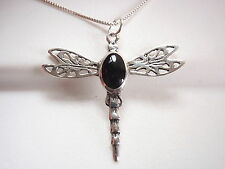 Black Onyx Dragonfly Necklace 925 Sterling Silver Corona Sun Jewelry