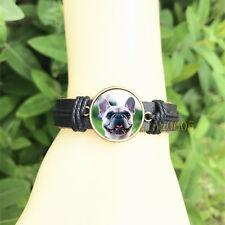 French bulldog Black Bangle 20 mm Glass Cabochon Leather Charm Bracelet