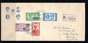 1947 Bechuanaland GVI Royal visit set of 4 on registered illustrated FDC