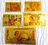 "★ COLLECTION COMPLETE 5 BILLETS POLYMER  "" OR ""  COULEURS ANNEES 1951  ★ REF6"