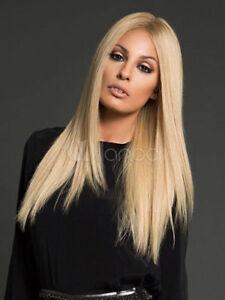 100% Human Hair! Sexy Women Blonde Ladies Long Natural Straight Wig