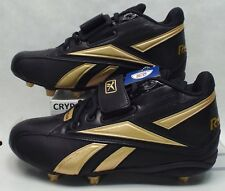 New Mens 10.5 Reebok RBK NFL Thorpe Mid D Strap Black Gold Football Cleats Shoes