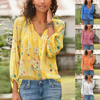 Women Loose Plus Size Floral Print Long Sleeve V-Neck Button Pullover Tops Shirt