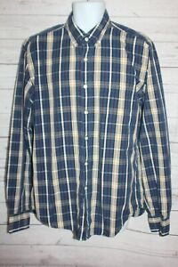 J.CREW Men's Large Tailored Fit Plaid Shirt Blue Yellow Button Down Long Sleeve