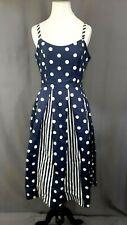 Modcloth Celebrated Style Fit & Flare Dress 6/M Blue Polka Dots/Stripes Pockets