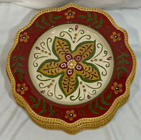 (4) Pier 1 Imports Colorful Juliana Pattern Dinner Plate(s) Handpainted 11""